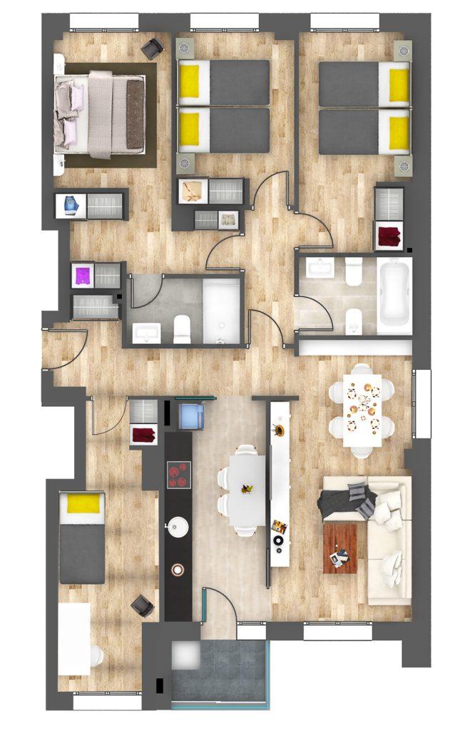 plano 4 dormitorios en Oviedo