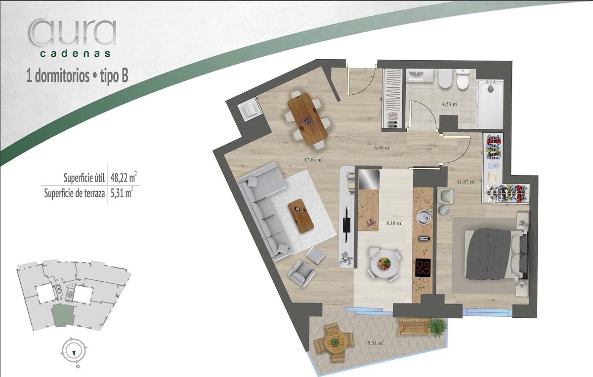 Apartamento de 1 dormitorio en Prado de la Vega